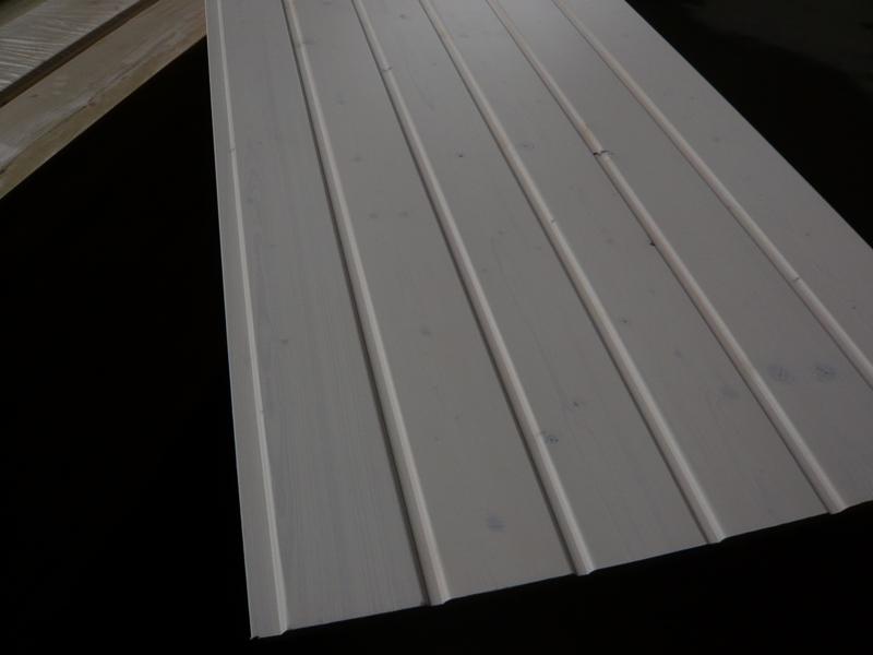 Profilbrett Rundkante A-Sort. weiß lasiert 14 x 121 mm